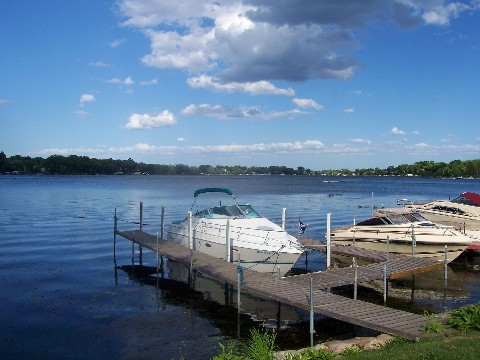 boat docked on lake minnetonka in mound minnesota