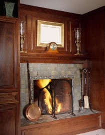 real estate photo for christmas lake homes and lakeshore pages shows traditrional fireplace