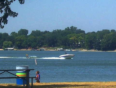 go waterskiing on Lake Marion Lakeville