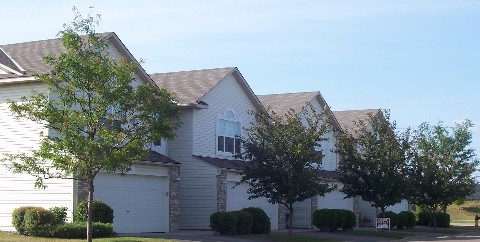 front side of side by side novak fleck townhomes shakopee