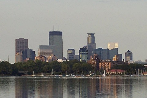 minneapolis skyline over lake calhoun
