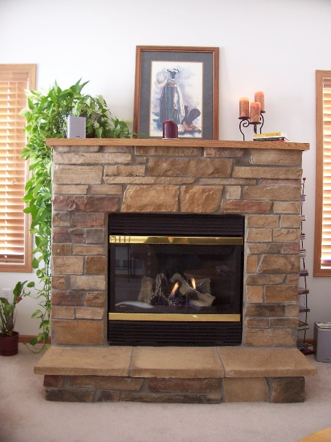 gas fireplace in plymouth townhouse