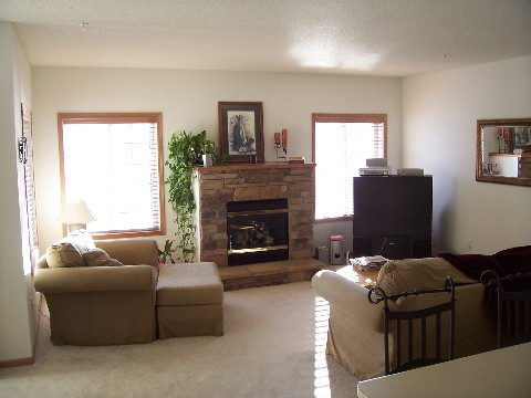 sunny living room in plymouth townhome