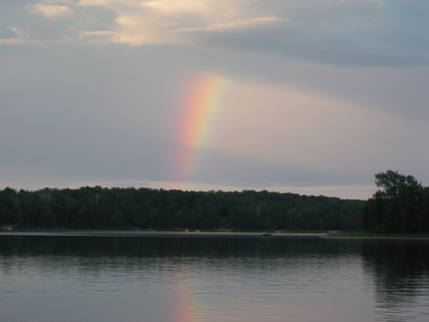 rainbow over butterfield lake crow Wing county
