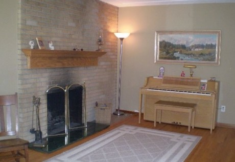 Full wall brick fireplace in South Minneapolis property