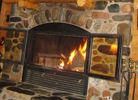 log cabin fireplace for lake superior cabin
